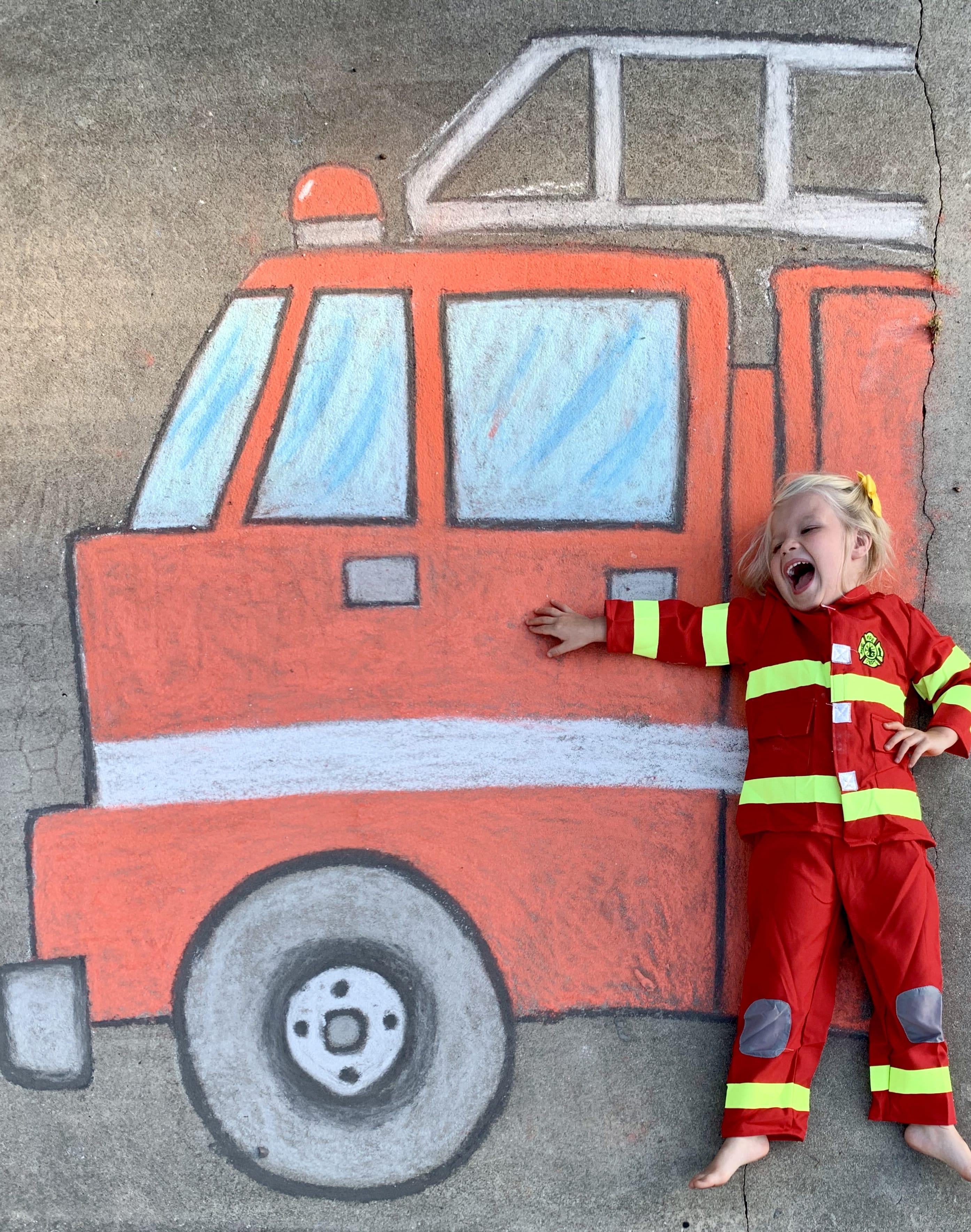 fire fighter chalk art