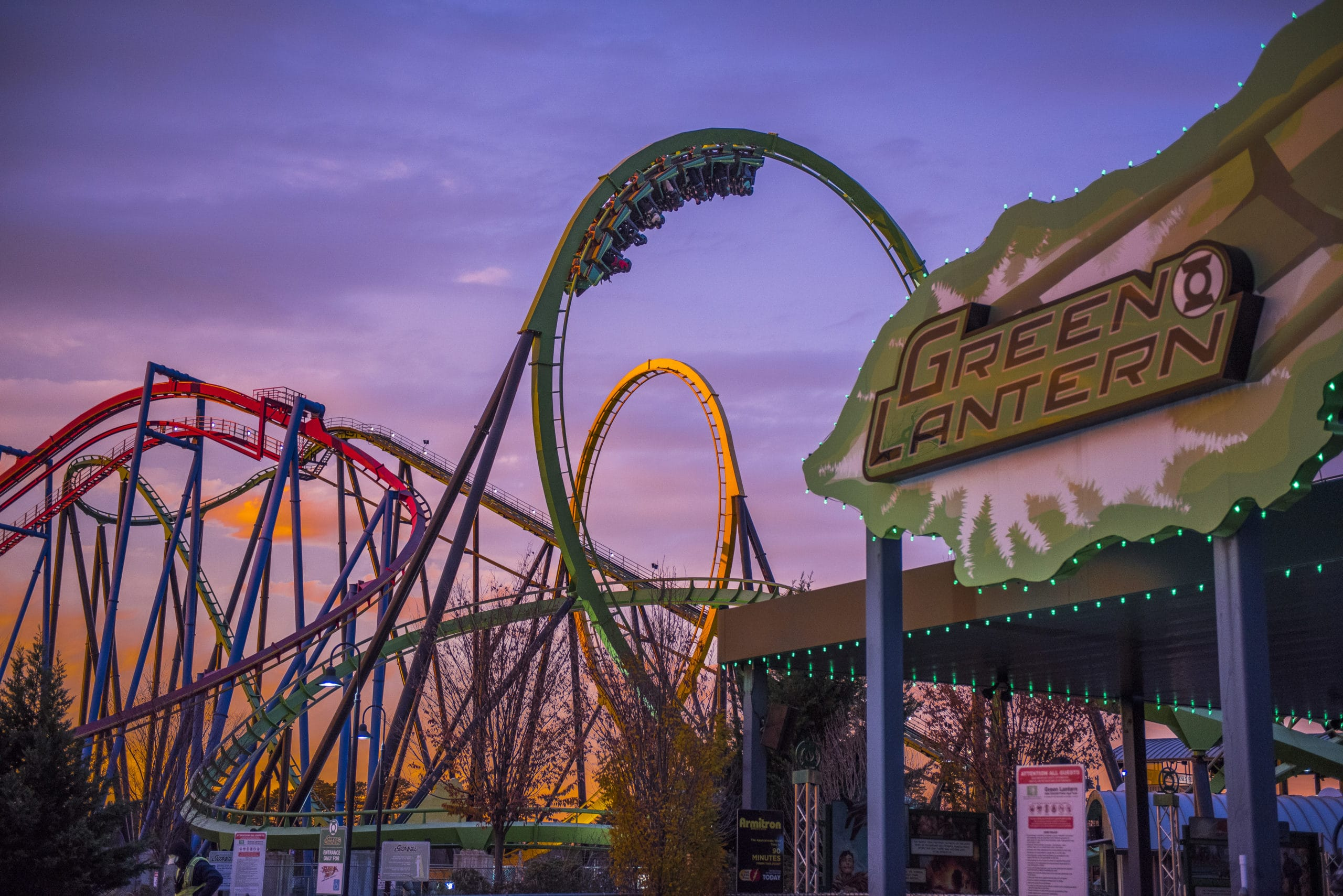 six flags at night