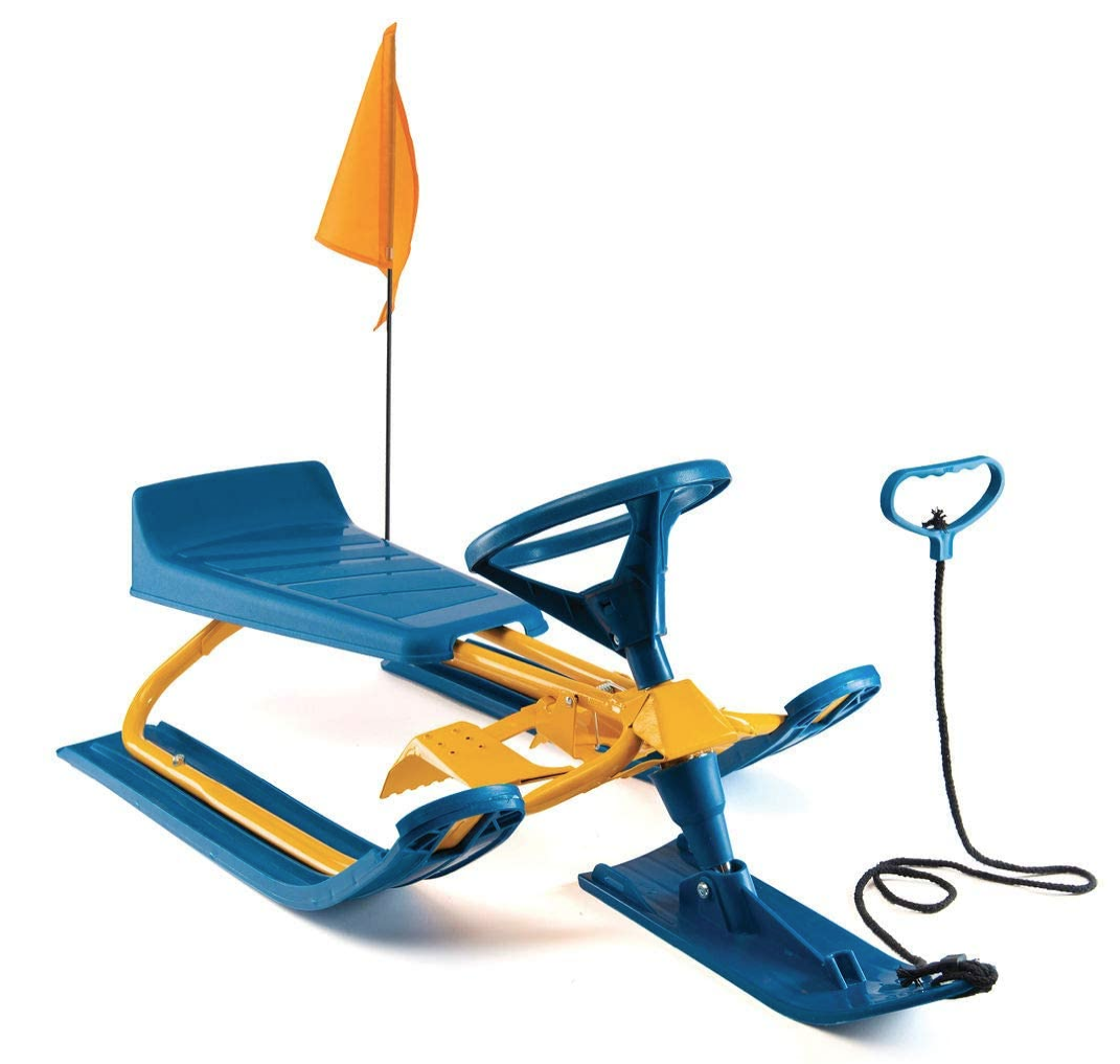Frost Rush Snow Sled for Kids with 90⁰ Steering Wheel, Twin Breaks & Safety Flag